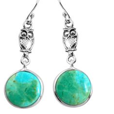 10.89cts green arizona mohave turquoise 925 sterling silver owl earrings p91865