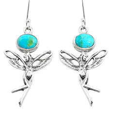 4.22cts green arizona mohave turquoise silver angel wings fairy earrings p50755