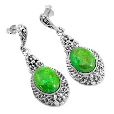 12.30cts green copper turquoise 925 sterling silver dangle earrings c1763