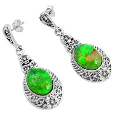 9.47cts green copper turquoise 925 sterling silver dangle earrings jewelry c1805