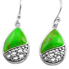 7.17cts green copper turquoise 925 sterling silver dangle earrings jewelry c4541