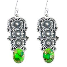 4.69cts green copper turquoise 925 sterling silver dangle earrings p59957