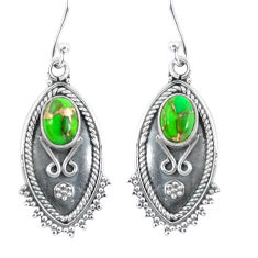 4.07cts green copper turquoise 925 sterling silver dangle earrings p60057