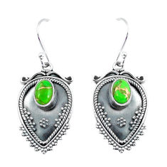 3.35cts green copper turquoise 925 sterling silver dangle earrings p60096