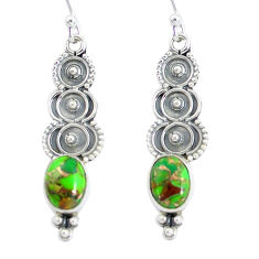 4.18cts green copper turquoise 925 sterling silver dangle earrings p60116