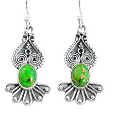 4.06cts green copper turquoise 925 sterling silver dangle earrings p60153