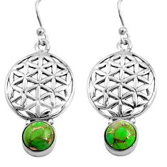 4.92cts green copper turquoise 925 sterling silver dangle earrings p84906