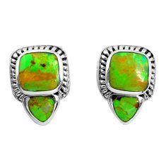 7.04cts green copper turquoise 925 sterling silver stud earrings jewelry c1801