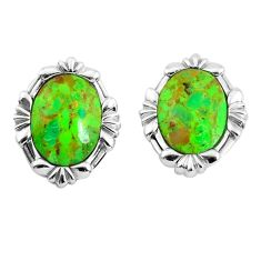 8.05cts green copper turquoise 925 sterling silver stud earrings jewelry c1802