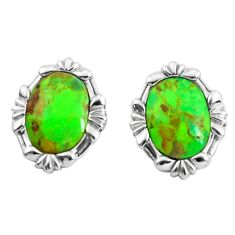 7.78cts green copper turquoise 925 sterling silver stud earrings jewelry c1803