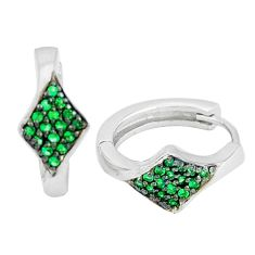 0.87cts green emerald (lab) 925 sterling silver earrings jewelry c1344