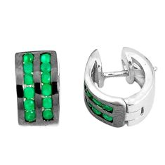 2.13cts green emerald (lab) 925 sterling silver earrings jewelry c1357