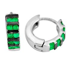 1.74cts green emerald (lab) 925 sterling silver earrings jewelry c1366