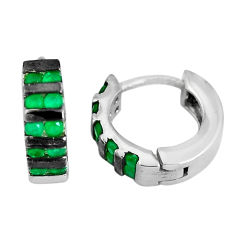 2.01cts green emerald (lab) round 925 sterling silver earrings jewelry c1355