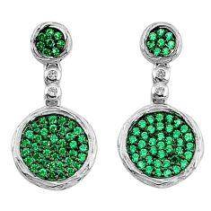 3.17cts green emerald (lab) topaz 925 sterling silver dangle earrings c2705