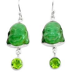 15.65cts green jade peridot 925 sterling silver buddha charm earrings p78163