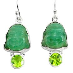 16.18cts green jade peridot 925 sterling silver buddha charm earrings p78168