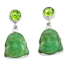 17.22cts green jade peridot 925 sterling silver buddha charm earrings p78177