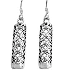 3.87gms indonesian bali style solid 925 plain silver dangle earrings c5339