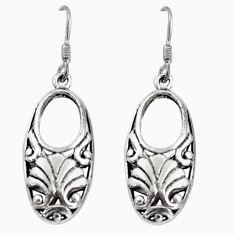 5.69gms indonesian bali style solid 925 plain silver dangle earrings c5372