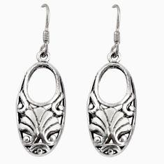 5.27gms indonesian bali style solid 925 plain silver dangle earrings c5373