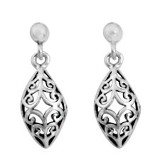 3.02gms indonesian bali style solid 925 plain silver dangle earrings c5382