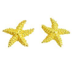 4.69gms indonesian bali style solid 925 silver 14k gold star fish earrings c2981