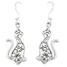 3.62gms indonesian bali style solid 925 silver cat charm earrings jewelry c3643