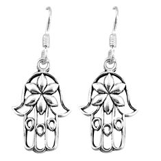 2.47gms indonesian bali style solid 925 silver hand of god hamsa earrings c5388