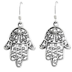 5.27gms indonesian bali style solid 925 silver hand of god hamsa earrings c5400