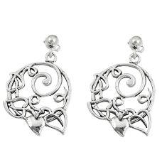 7.02gms indonesian bali style solid 925 silver heart love earrings c3658
