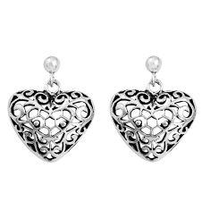 6.48gms indonesian bali style solid 925 silver heart love earrings c5343