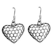 4.02gms indonesian bali style solid 925 silver heart love earrings c5358