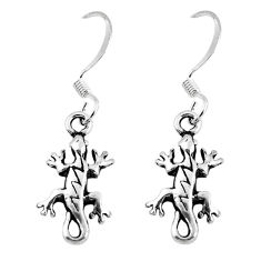 2.65gms indonesian bali style solid 925 silver lizard charm earrings c5368