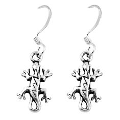 2.48gms indonesian bali style solid 925 silver lizard charm earrings c5371
