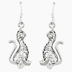 3.89gms indonesian bali style solid 925 silver mongoose charm earrings c5361
