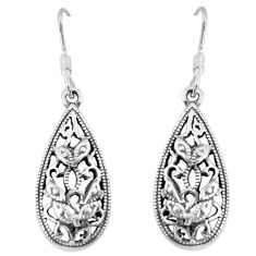 5.89gms indonesian bali style solid 925 solid silver earrings jewelry c3653