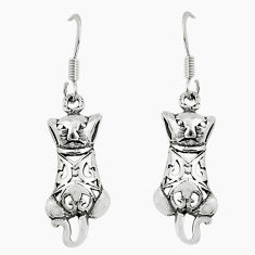 2.89gms indonesian bali style solid 925 sterling silver cat earrings c5364