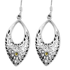 5.27gms indonesian bali style solid 925 sterling silver dangle earrings c5329
