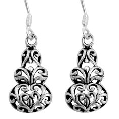 3.67gms indonesian bali style solid 925 sterling silver dangle earrings c5337
