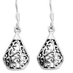 3.02gms indonesian bali style solid 925 sterling silver dangle earrings c5338
