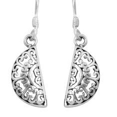 2.69gms indonesian bali style solid 925 sterling silver dangle earrings c5340
