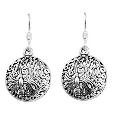 3.48gms indonesian bali style solid 925 sterling silver dangle earrings c5345