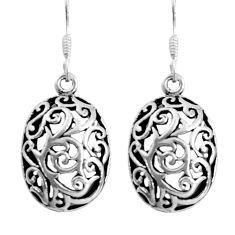 4.26gms indonesian bali style solid 925 sterling silver dangle earrings c5352