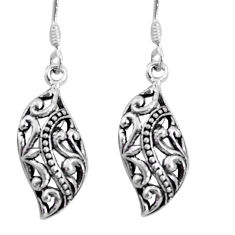 3.07gms indonesian bali style solid 925 sterling silver dangle earrings c5390