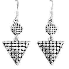 7.26gms indonesian bali style solid 925 sterling silver dangle earrings c5396