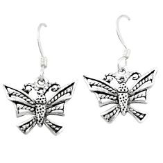 2.02gms indonesian bali style solid 925 sterling silver dragonfly earrings c5363