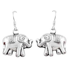 4.02gms indonesian bali style solid 925 sterling silver elephant earrings c5376