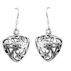 5.69gms indonesian bali style solid 925 sterling silver flower earrings c5353