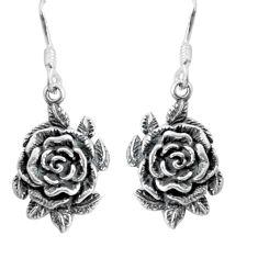 5.02gms indonesian bali style solid 925 sterling silver flower earrings c5354